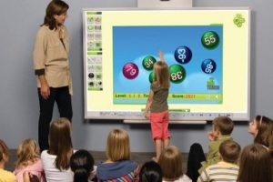 large touch screen monitor and classroom